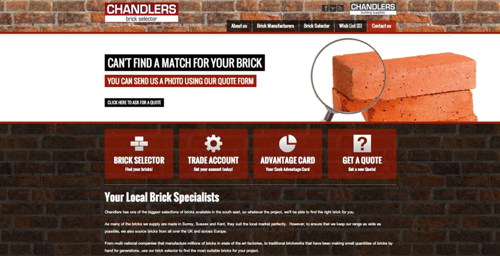 chandlers launch new brick selector website netmagmedia ltd. Black Bedroom Furniture Sets. Home Design Ideas