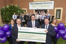Children's Hospice is presented with a cheque for £28,000 by the Persimmon Homes