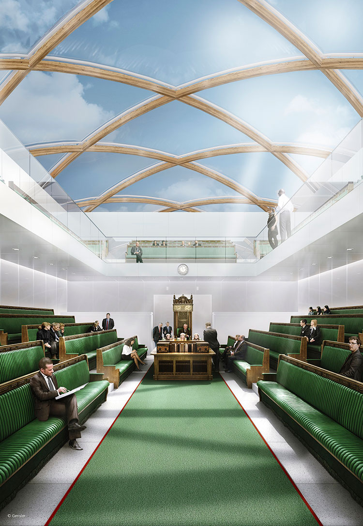 First look inside Gensler\'s temporary Parliament on Thames ...