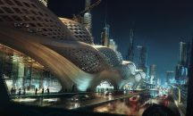 On a rainy Riyadh night 20 years in the future, the King Abdullah Financial District Metro Station serves the city as a valid response to, and symbol of, the city's long term infrastructure development.