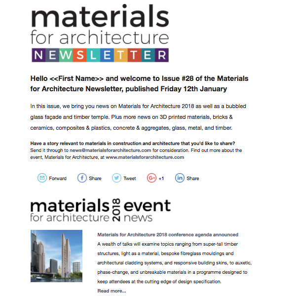 materials for architecture newsletter 28 preview