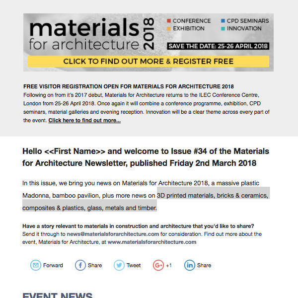 Preview of the #34 Materials for Architecture Newsletter